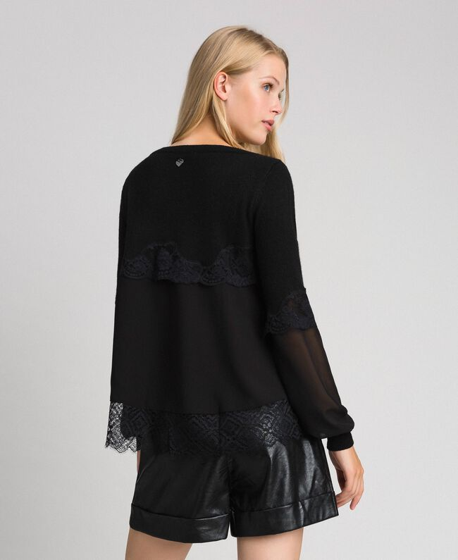 Jumper with georgette and lace Black Woman 192TT3082-03