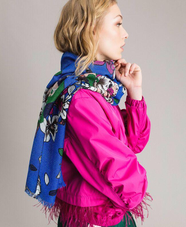 Lurex-Viskose-Schal mit Blumenmuster Motiv Windblumen Kornblumenblau Frau 191TA4368-0T