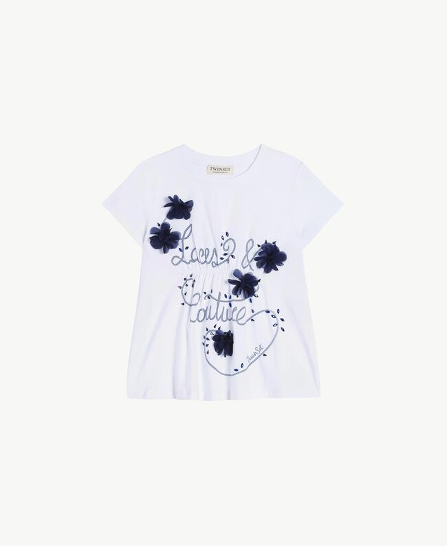 "T-shirt ricamo Bicolor Bianco ""Papers"" / Blu Oceano Bambina GS82JD-01"