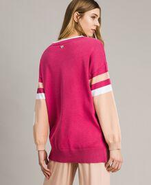 Colour-Block Maxipullover mit Herz Rose Blossom Frau 191LL37FF-03