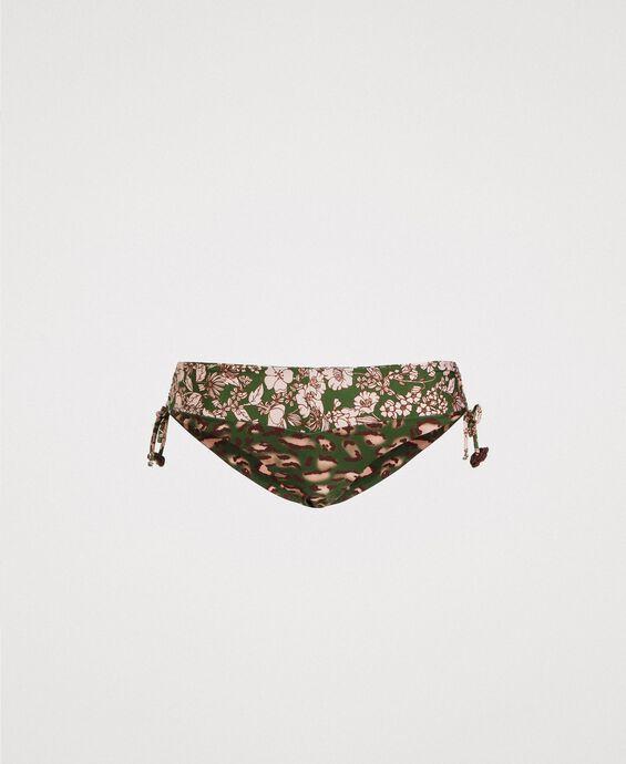 Bas de bikini avec cordon coulissant et mélange d'imprimés