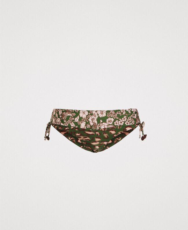 Mixed print bikini bottom with drawstring Amazon Green Animal Print Woman 191LMMU99-01