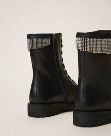 Кожаные ботинки-амфибии с бахромой Черный женщина 202TCT100-04