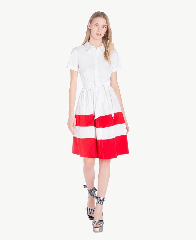 Robe chemisier popeline Bicolore Blanc Optique / Rouge Feu Femme YS82FC-01