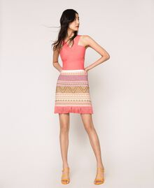 Short skirt with fringes Multicolour Pink Jacquard Woman 201TT3163-01