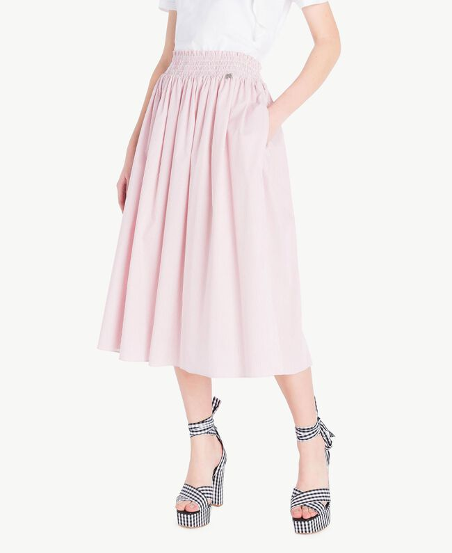 Mid-length skirt Multicolour Misty Pink Pin Stripes Woman JS82DT-01