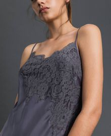 Satin slip with lace Lead Grey Woman 192LI21NN-04