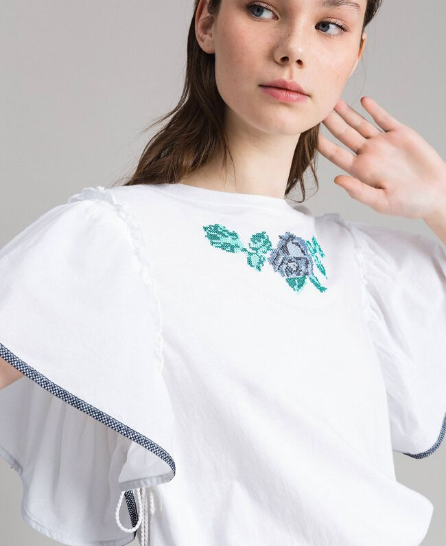 T-shirt with cross stitch embroidery White Woman 191MT2400-04