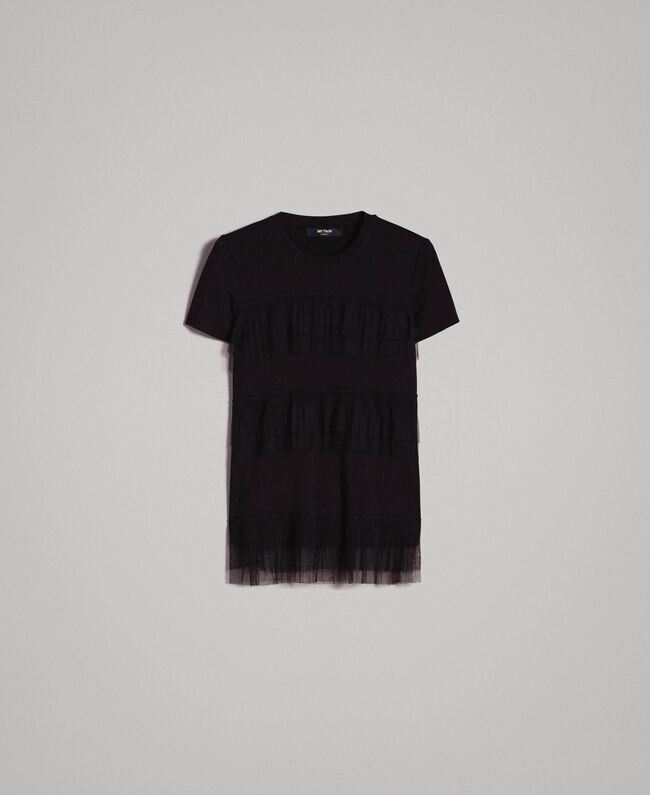 T-shirt with pleated tulle flounces Black Woman 191MP2235-0S