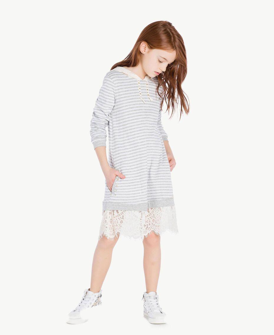 Maxi sweat-shirt dentelle Rayure Blanc Papyrus / Gris Mélangé / Chantilly Enfant GS82UA-02