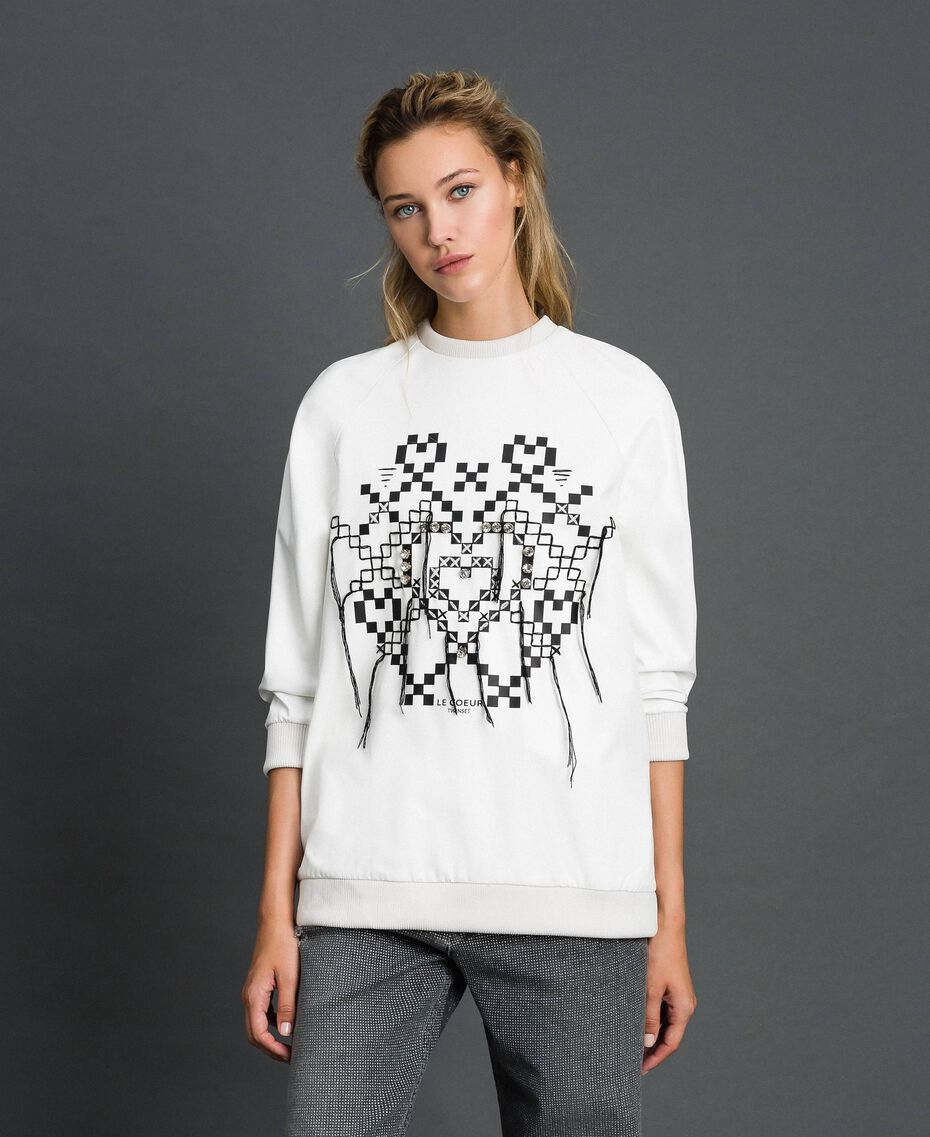 Faux leather sweatshirt with print and embroidery White Snow Woman 192ST2012-02