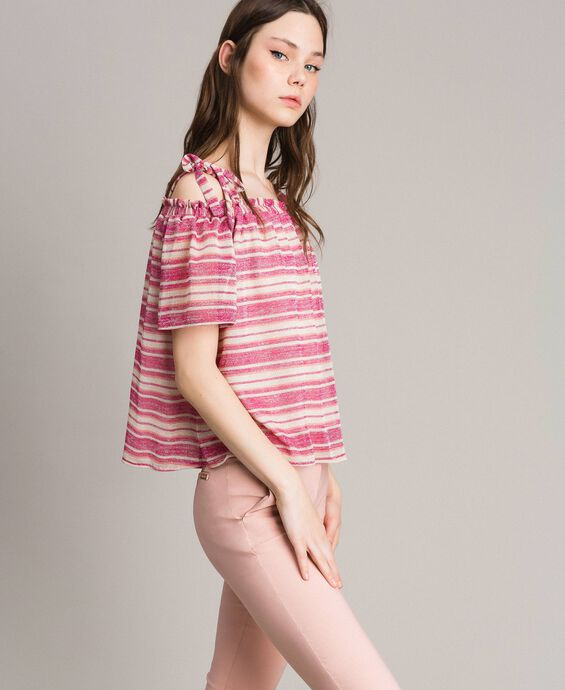 Lurex striped blouse with bows