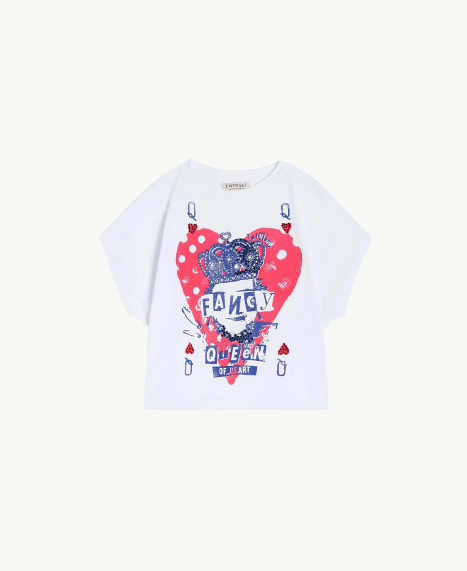 "T-shirt boxy Blanc ""Papers"" Enfant GS82A6-01"