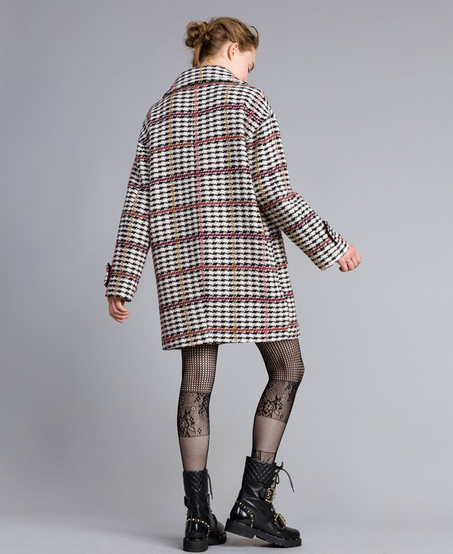 Oversized houndstooth coat Large Multicolour Check Jacquard Woman PA826H-04