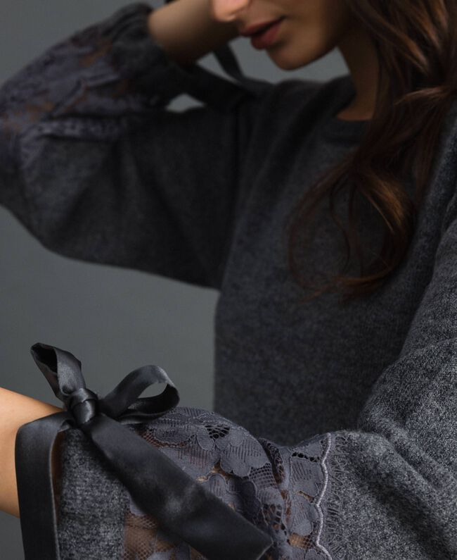 Knit dress with lace Dark Gray Mélange Woman 192LI31AA-04