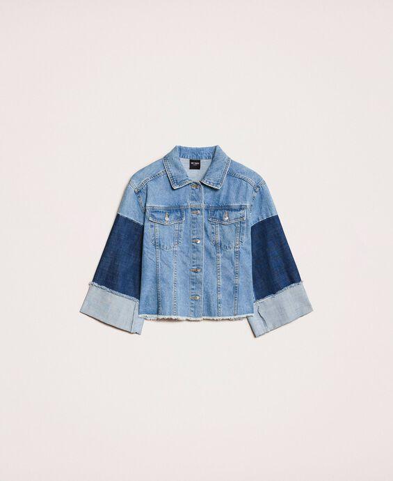 Джинсовая куртка 'колор-блок' квадратного кроя