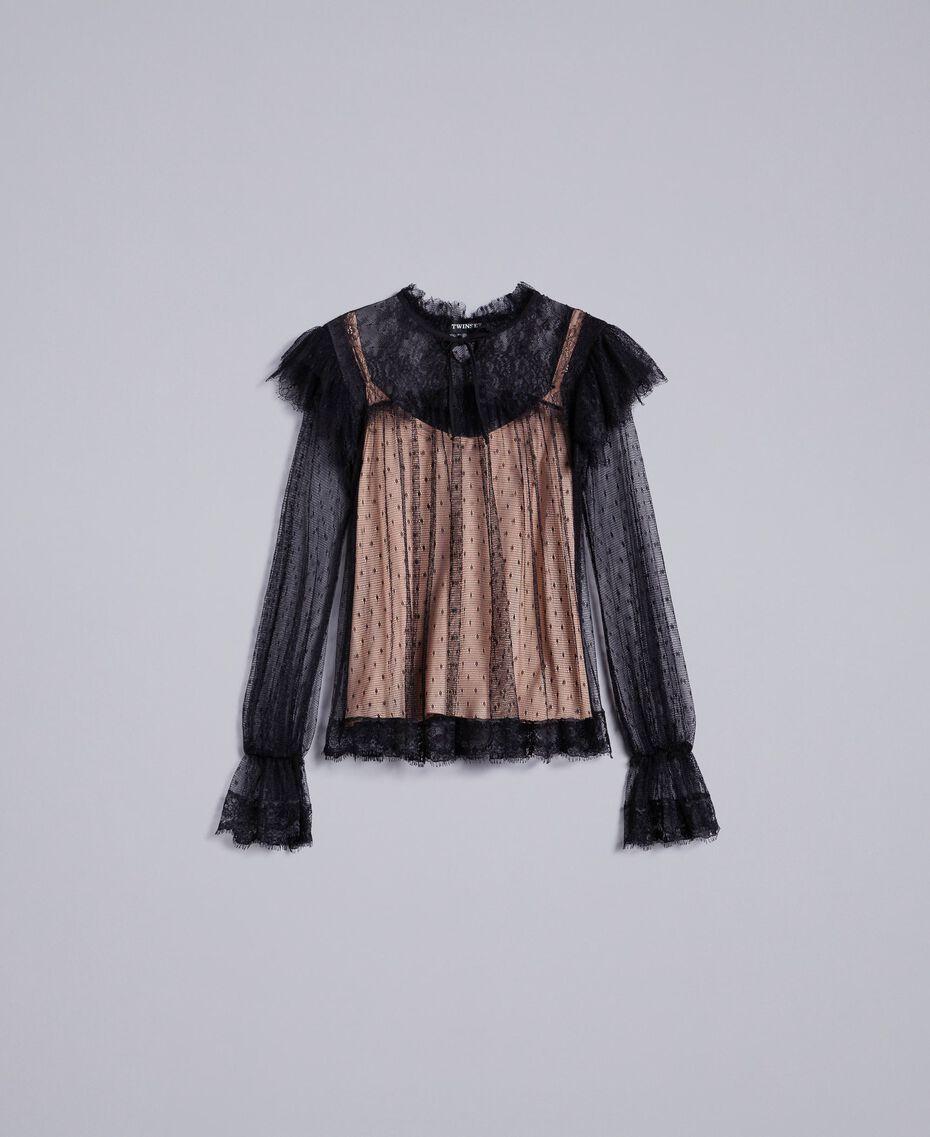 Blouse en tulle plumetis et dentelle Noir Femme TA82XE-0S