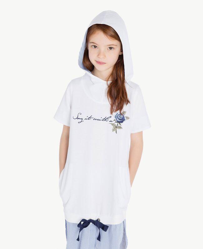 "Embroidered dress ""Papyrus"" White / Light Blue Jacquard Child GS82LN-05"
