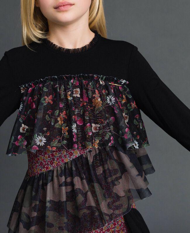 Flounce dress with mixed prints Mixed Pattern Print Child 192GJ2500-04