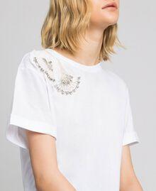 T-shirt avec broderie florale de strass et de sequins Blanc Femme 192TP2715-02