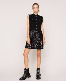 Full sequin shirt dress Black Denim Woman 201MP2260-01