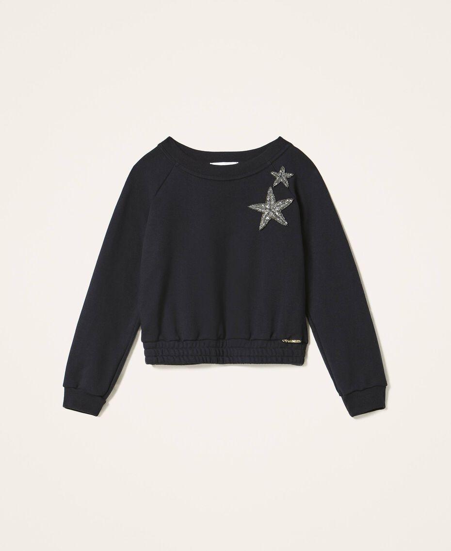 Sweatshirt mit Sternstickerei Schwarz Kind 202GJ261B-0S