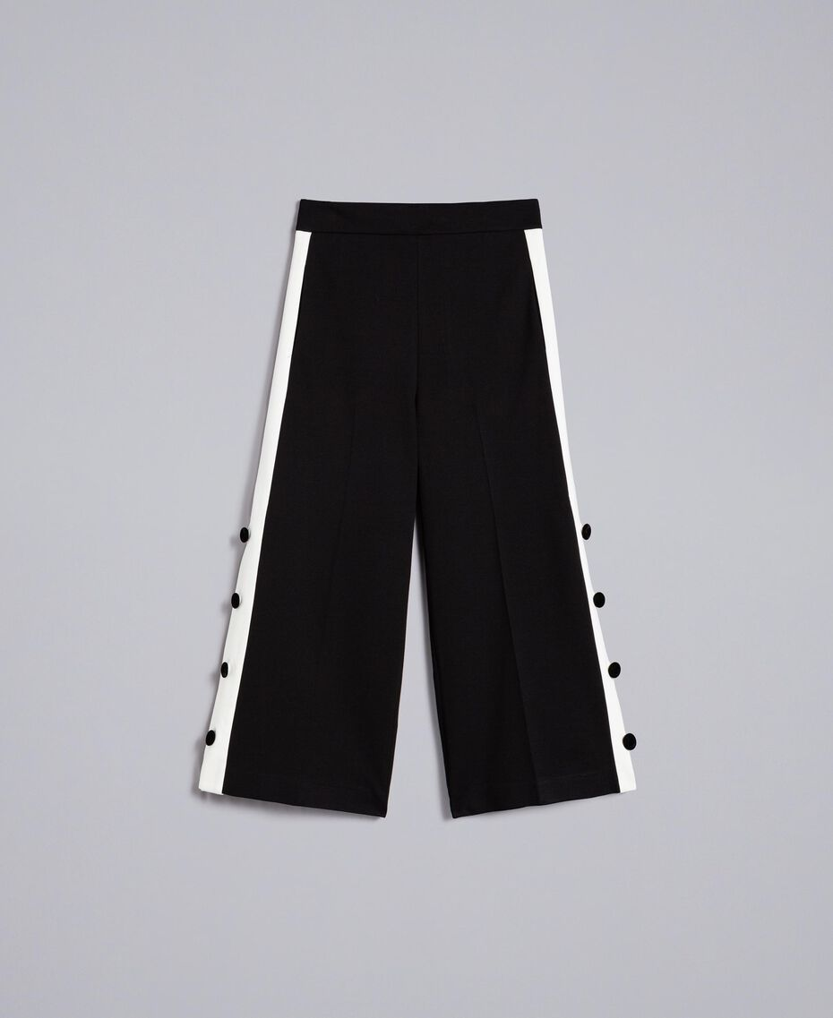 "Pantaloni cropped in punto Milano Bicolor Nero / Bianco ""Neve"" Donna PA821P-0S"