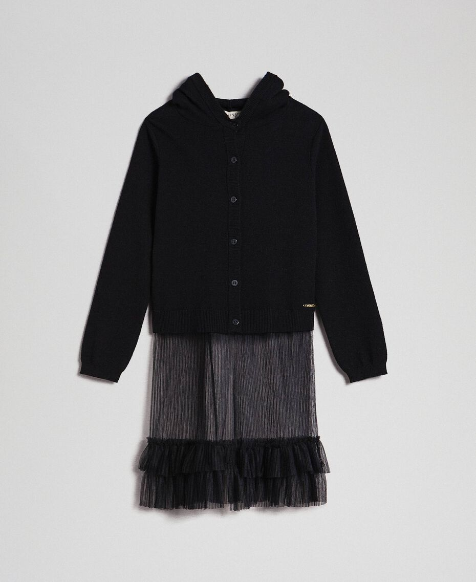 Cardigan with tulle inlay Black Child 192GJ3111-0S