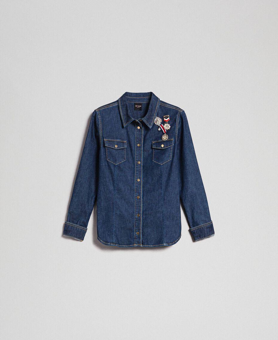 Джинсовая рубашка с брошами в стиле милитари Синий Деним женщина 192MP2342-0S