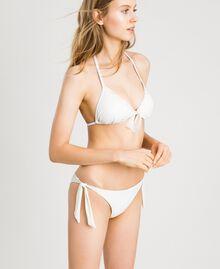 "Glitter triangle bikini top with bow ""Milkway"" Beige Woman 191LBM322-0S"