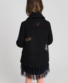 Cappotto in panno con ricami Nero Bambina 192GJ2102-03