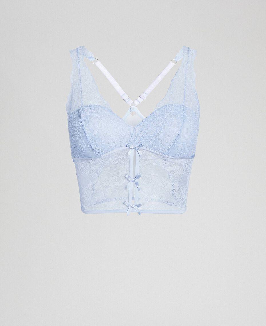 Bustier rembourré en dentelle et tulle Bleu Poudré Femme 192LL6C11-0S