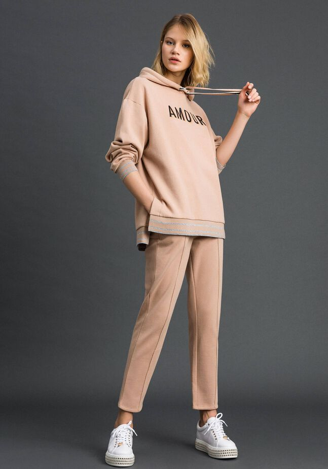Cigarette trousers with lurex stripes