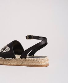 Leather espadrilles with jewelry butterfly Black Woman 191TCP10A-03