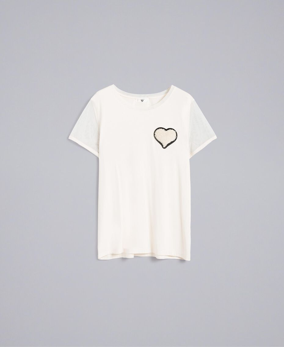 Embroidered jersey t-shirt Blanc Woman IA86KK-0S