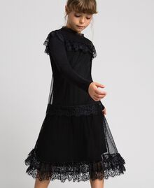 Mesh, tulle and lace long dress Black Child 192GJ2322-04