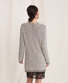 Twisted yarn jacket with lurex Multicolour Ivory / Black Woman 201TP3160-03