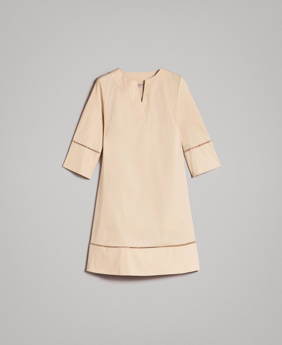 """Popeline-Kleid mit Stickerei """"Marzipan"""" Beige Frau 191TT2242-0S"""