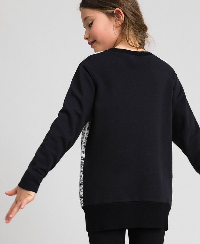 Sweatshirt with jacquard knit inlay Jacquard Black / Off White Child 192GJ2310-03
