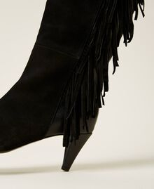Leather high boots with fringes Black Woman 212TCP10C-04