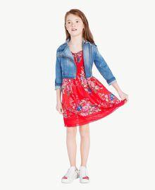 Kleid mit Blumenprint Blumenprint / Granatapfelrot Kind GS82E1-06