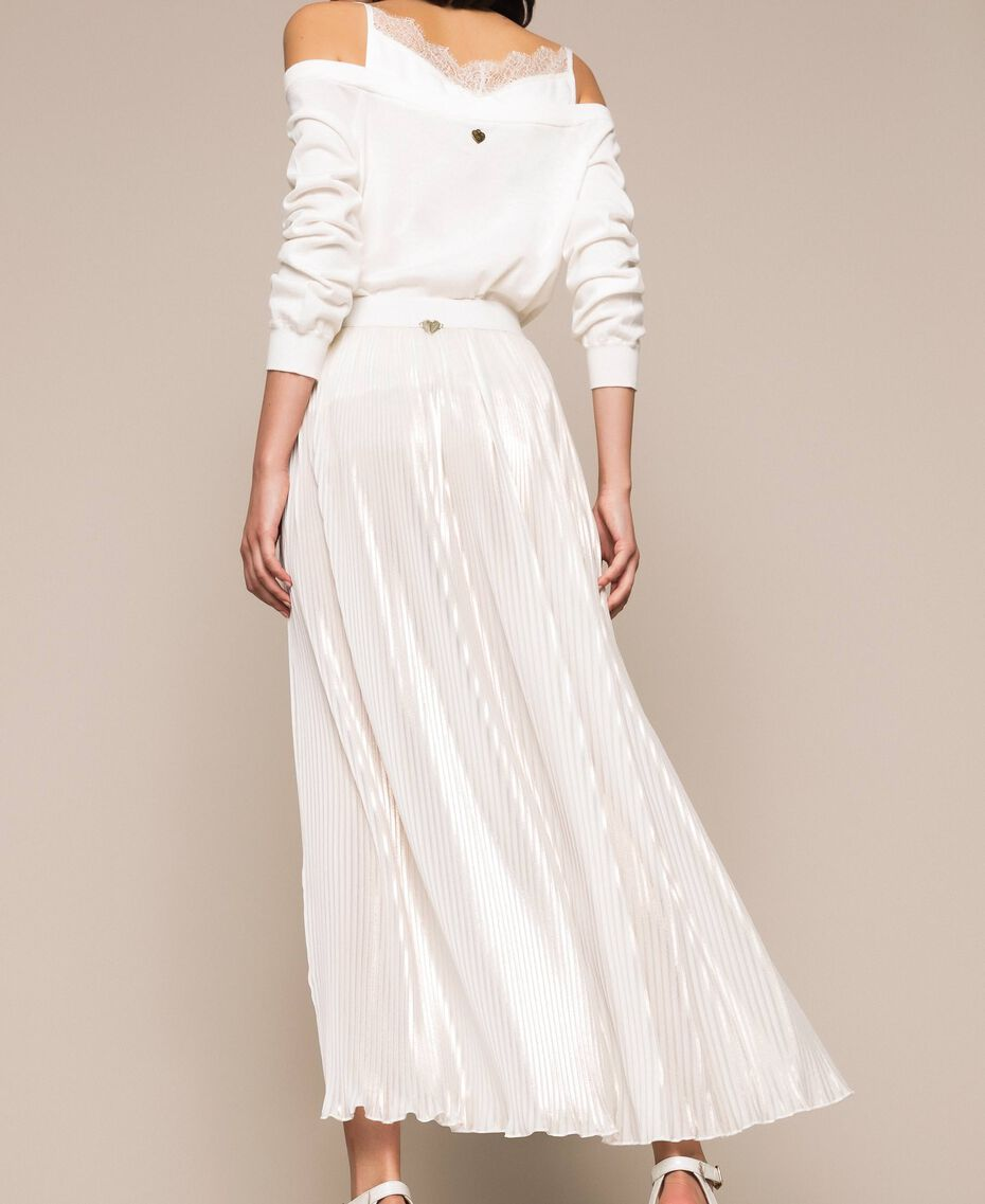 Laminated pleated long skirt Ivory Woman 201LB22LL-03