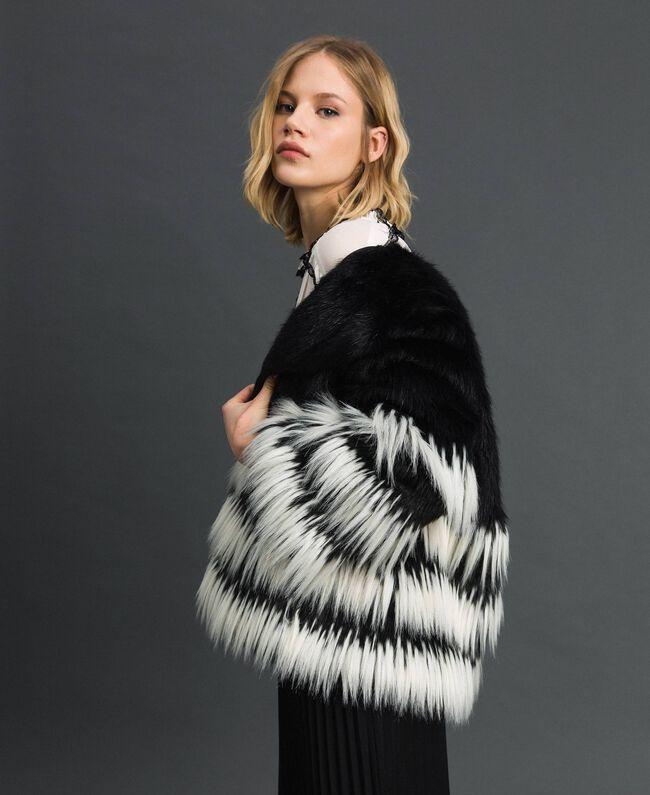 Two-tone faux fur jacket Black Woman 192TP2391-01