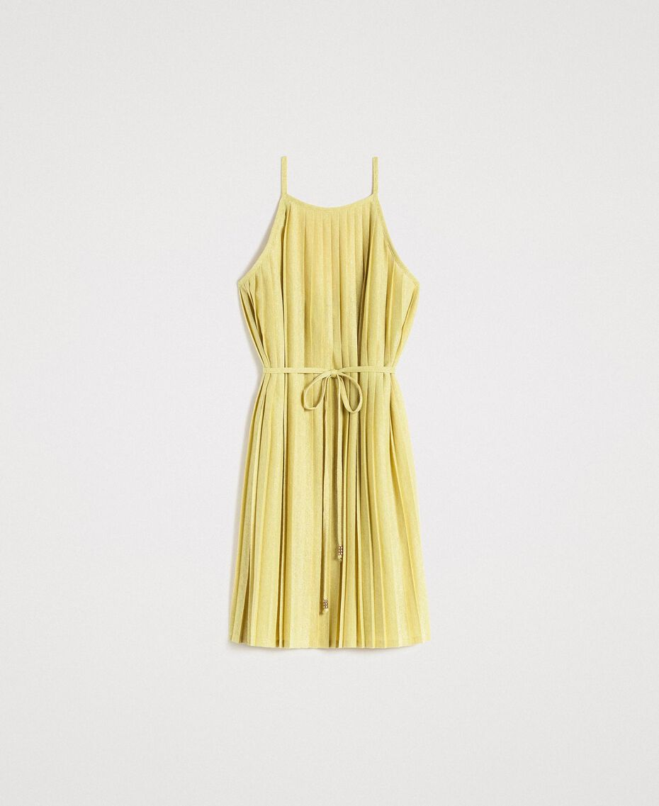 "Pleated lurex dress ""Lemon Juice"" Yellow Woman 191LB23FF-0S"
