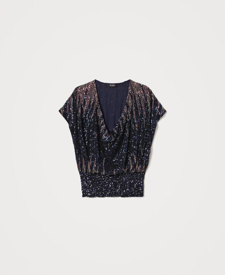 Bluse mit Alloverpailletten im Farbverlauf Mehrfarbige irisierende Pailletten Frau 202MP2481-0S
