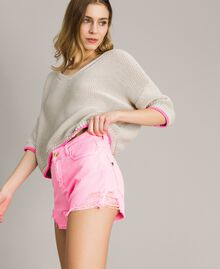 """V-neck jumper with contrast trims """"Milkway"""" Beige Woman 191LL37NN-02"""