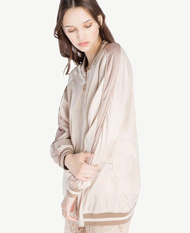 """Satin bomber Two-tone """"Rope"""" Beige / """"Amphora"""" Brown Woman SS82EA-04"""