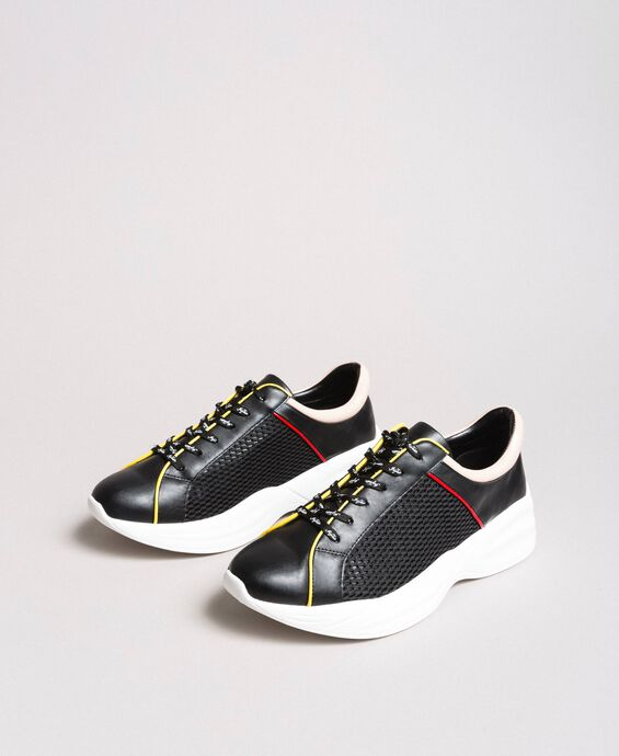 Faux leather and mesh running shoes