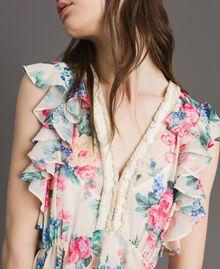Robe en georgette à volants et froufrous Imprimé Fleur Tissu Blanc Femme 191MP2330-04