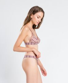 """Printed tulle and lace thong """"Baroque Rose"""" Pink Woman IA8D88-02"""